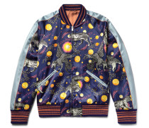 Space Animals Slim-fit Printed Satin Bomber Jacket