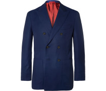 Blue Sailor Double-breasted Super 130s Wool-hopsack Blazer