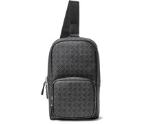 Leather-Trimmed Logo-Print Coated-Canvas Sling Backpack