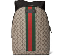 Leather-trimmed Monogrammed Coated-canvas Backpack