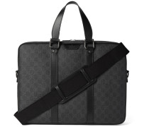 Leather-trimmed Monogrammed Coated Canvas Briefcase