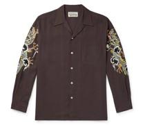 + Tim Lehi Camp-Collar Embroidered Lyocell Shirt