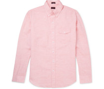 Button-down Collar Linen And Cotton-blend Shirt