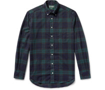 Button-down Collar Black Watch Checked Brushed-cotton Flannel Shirt