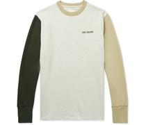 Logo-Embroidered Colour-Block Mélange Cotton-Jersey T-Shirt