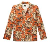 Camp-Collar Printed Velvet Shirt