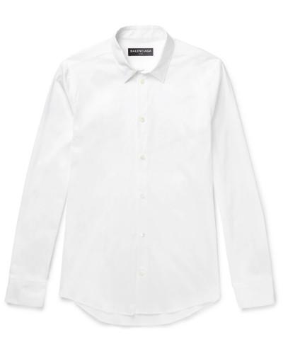Slim-fit Stretch Cotton-blend Poplin Shirt