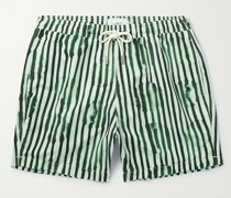 Mid-Length Striped Swim Shorts