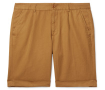 Slim-Fit Pleated Cotton and Linen-Blend Shorts