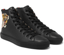 Major Tiger-appliquéd Full-grain Leather High-top Sneakers