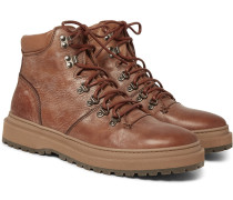 Nubuck-trimmed Distressed Leather Boots