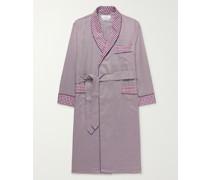 Piped Checked Cotton-Poplin Robe