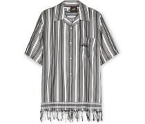 + Paula's Ibiza Fringed Logo-Embroidered Striped Cotton Shirt