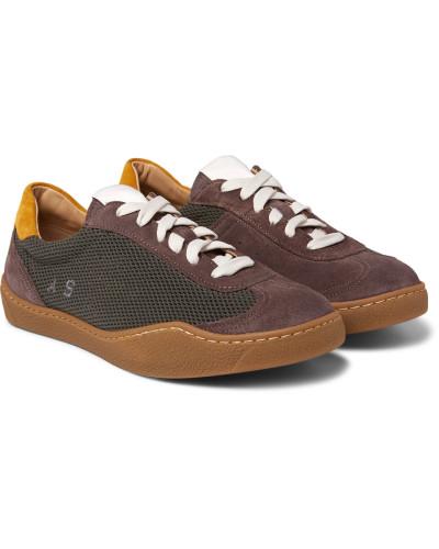 Acne Herren Lars Mesh And Suede Sneakers
