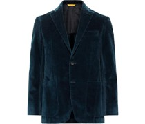 Kei Slim-Fit Unstructured Textured Cotton-Velvet Blazer