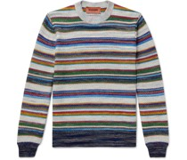 Striped Crochet-Knit Cotton and Wool-Blend Sweater