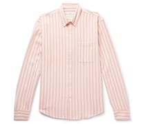 Button-Down Collar Striped Waffle-Knit Cotton Shirt