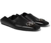 Cosy BB Logo-Embellished Collapsible-Heel Leather Loafers