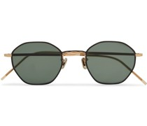 Octagon-Frame Gold-Tone and Titanium Sunglasses