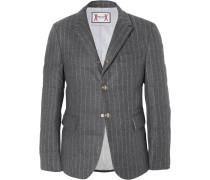 Slim-fit Quilted Pinstriped Wool Down Jacket
