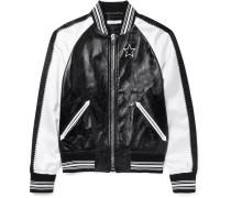 Appliquéd Leather And Satin Bomber Jacket