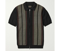 Slim-Fit Striped Cotton and Linen-Blend Zip-Up Polo Shirt