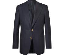 Blue Windsor Basketweave Wool And Mohair-blend Blazer