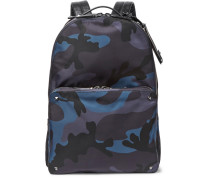 Leather-trimmed Camouflage-print Shell Backpack