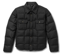 Reversible Quilted Wool-blend Twill And Shell Jacket