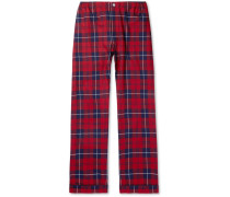 Marcel Piped Checked Cotton-flannel Pyjama Trousers