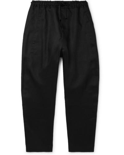 Black Tapered Linen Drawstring Trousers - Black