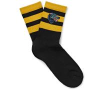 Appliquéd Stretch Cotton-blend Socks