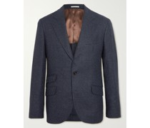 Unstructured Micro-Houndstooth Wool and Silk-Blend Blazer