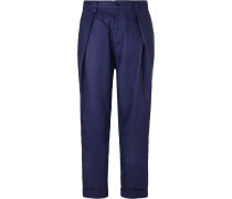 Indigo-Dyed Tapered Pleated Linen Trousers