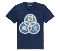 Slim-fit Printed Indigo-dyed Cotton-jersey T-shirt