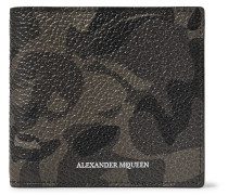 Camouflage-print Pebble-grain Leather Billfold Wallet