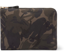 Camouflage-print Nubuck Pouch