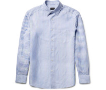 Slim-fit Button-down Collar Gingham Cotton And Linen-blend Shirt