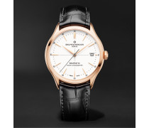 Clifton Baumatic Automatic Chronometer 39mm 18-Karat Rose Gold and Alligator Watch, Ref. No. M0A10469