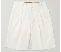 Roberts Pleated Cotton and Linen-Blend Shorts