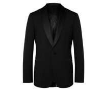 Black Slim-Fit Shawl-Collar Faille-Trimmed Virgin Wool Tuxedo Jacket