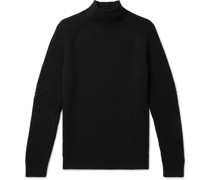 Ribbed Wool Mock-Neck Sweater