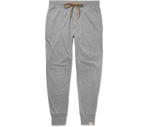 Slim-fit Tapered Mélange Cotton-jersey Pyjama Trousers