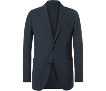 Blue Slim-fit Puppytooth Woven Suit Jacket