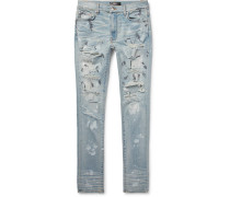 Skinny-fit Distressed Painted Stretch-denim Jeans