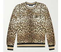 Logo-Appliquéd Leopard-Print Cotton-Jersey Sweatshirt