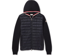 Cotton And Quilted Shell Down Zip-up Hoodie