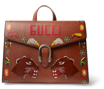 Dionysus Hand-painted Textured-leather Briefcase