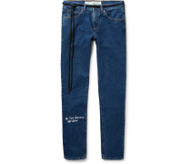 Slim-fit Embroidered Denim Jeans