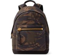 Camouflage-print Nubuck Backpack
